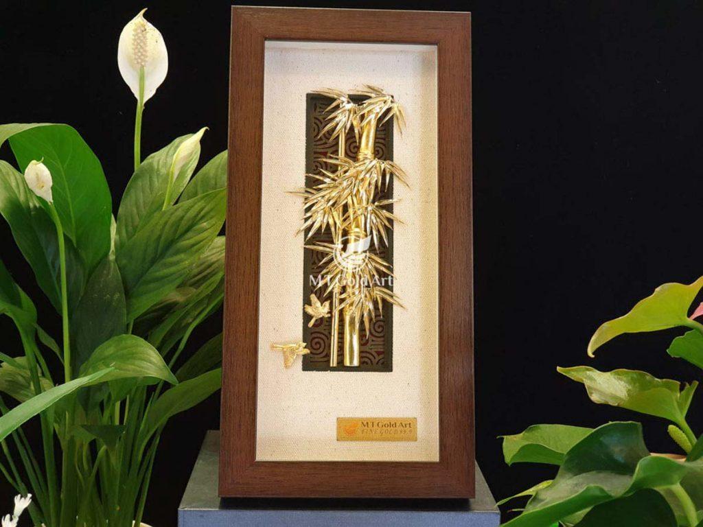Tranh cây trúc dát vàng 24k