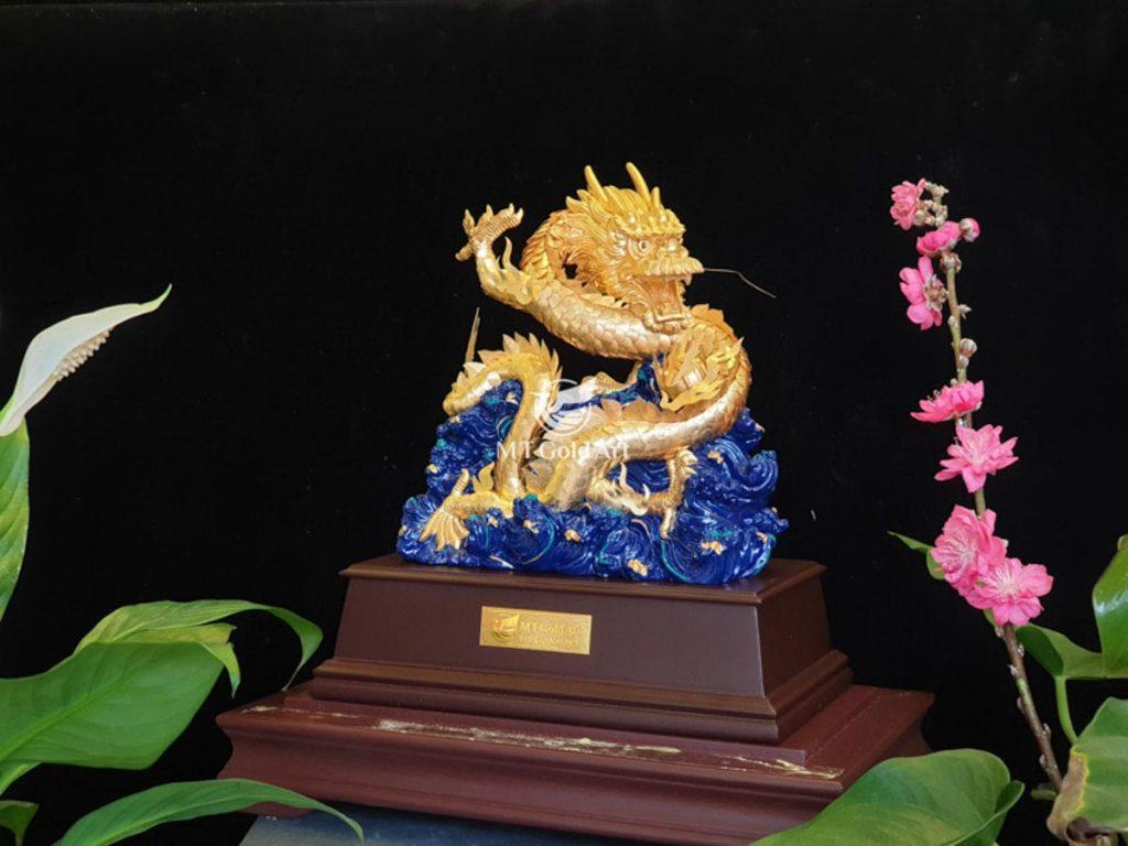 Tượng rồng phú quý dát vàng 24k